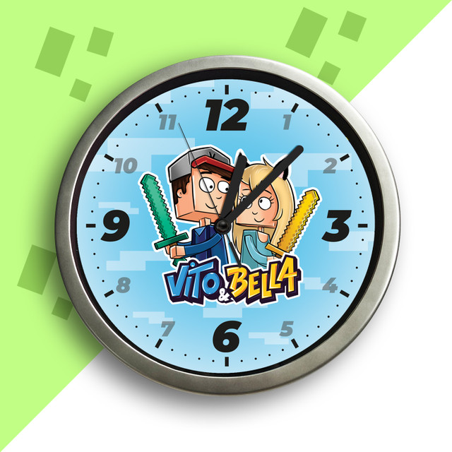 Zegar na ścianę. Vito i Bella.